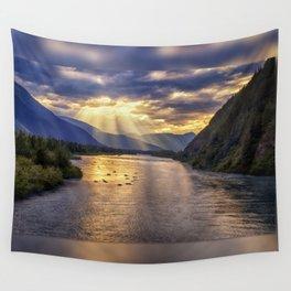 Portage River Sunset - Alaska Wall Tapestry