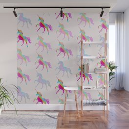 Glitter Rainbow Unicorns (Pink) Wall Mural