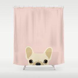 French Bulldog Peek - Cream on Pale Pink Shower Curtain