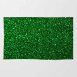 Christmas Evergreen Green Sparkly Glitter Rug