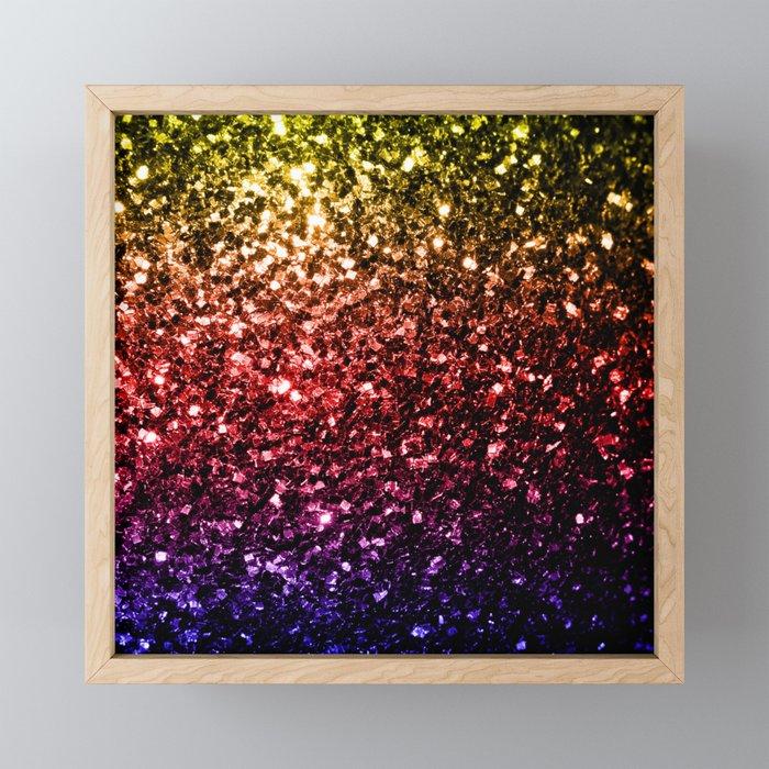Beautiful rainbow yellow red purple sparkles Framed Mini Art Print
