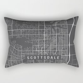 Scottsdale Map, Arizona USA - Charcoal Portrait Rectangular Pillow