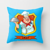 chef Throw Pillows featuring chef by Fargon