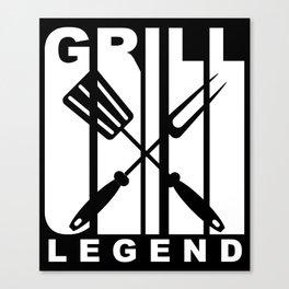 Vintage Style Grill Legend Retro BBQ Canvas Print