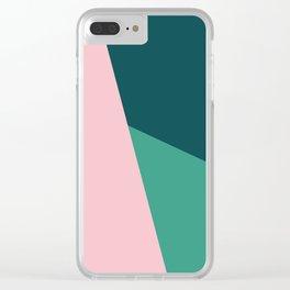 Geometric design in pink & green Clear iPhone Case