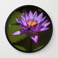 lotus Wall Clocks featuring Lotus by Maria Heyens