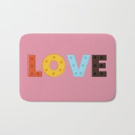 happy LOVE - typography Bath Mat
