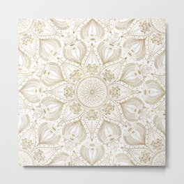 Boho Chic gold mandala design Metal Print