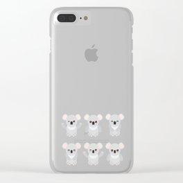 Funny cute koala set on white background Clear iPhone Case