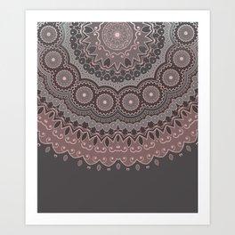Mandala Spirit, Rose Pink, Gray Art Print