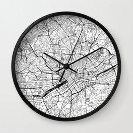 Frankfurt White Map Wall Clock