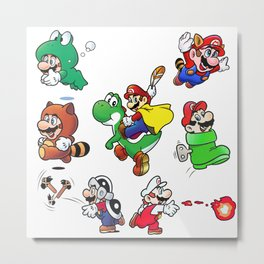 Old School Marios Metal Print