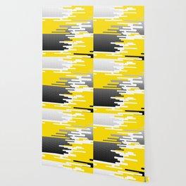 Yellow White Black Halftone Wallpaper