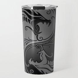 Gray and Black Yin Yang Dragons Travel Mug