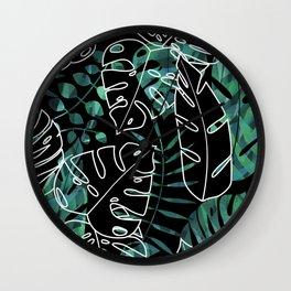 Dark tropical leaves pattern Wall Clock