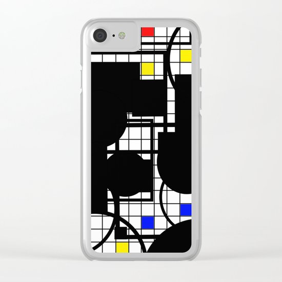 Colour Relationships - Black, white, red, yellow, blue, geometric abstract artwork Clear iPhone Case