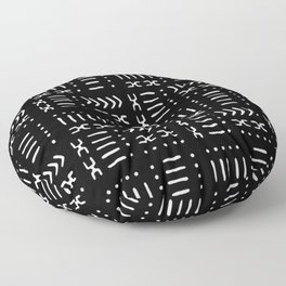 Black White Mud Cloth Pattern Floor Pillow