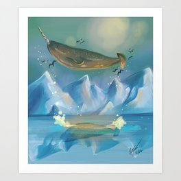 Flying Narwhals Art Print
