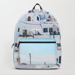 Santorini Greece Ligh Blue Sky Backpack