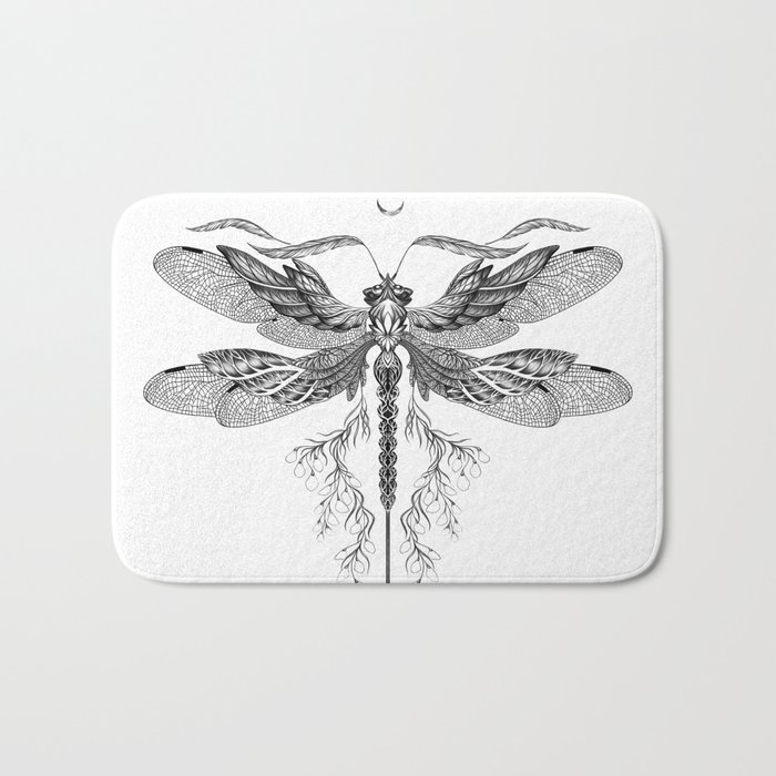 Dragon Fly Tattoo Black and White Bath Mat