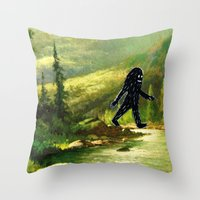 sasquatch Throw Pillows featuring Sasquatch by Andy Detskas