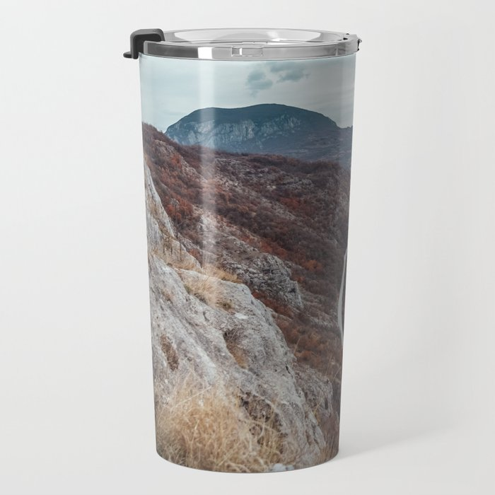 Beautiful photo of the canyon in Serbia, with river and the highway in the middle Travel Mug