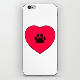 Cat Paw Print In Red Heart iPhone Skin