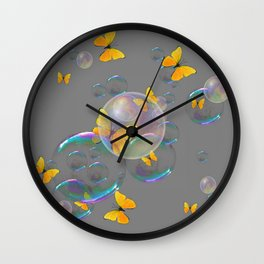 #2 YELLOW BUTTERFLIES  & SOAP BUBBLES GREY COLOR Wall Clock