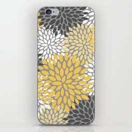 Modern Elegant Chic Floral Pattern, Soft Yellow, Gray, White iPhone Skin