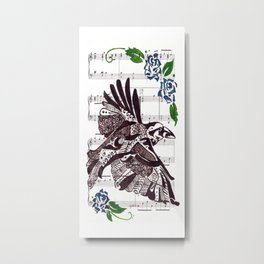 Quoth the Raven   (Raven and blue roses on sheet music) Metal Print