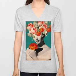 WOMAN WITH FLOWERS Unisex V-Neck
