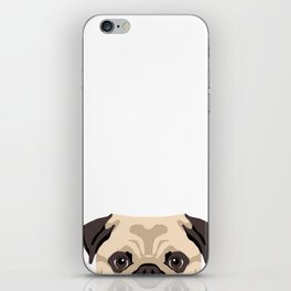 Pug dog pet dog breed pug lover peeking pug face iPhone Skin