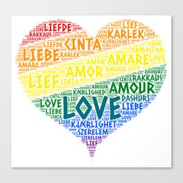 LGBT Rainbow Hearth Flag illustrated with Love Word of different languages Canvas Print
