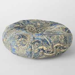 Elegant gold floral mandala and blue nebula design Floor Pillow