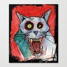 Blue Rage Zombie Cat Canvas Print