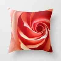 aperture Throw Pillows featuring Rose Aperture by Lita Mikrut