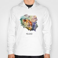 poland Hoodies featuring Map of Poland watercolor by jbjart
