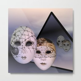 encounter with venetian masks Metal Print