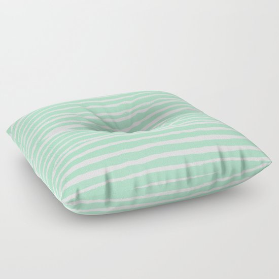 Mint stripes painted stripe pattern minimal nursery gender neutral Floor Pillow by ...