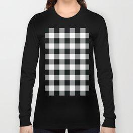 Buffalo Check Black White Plaid Pattern Long Sleeve T-shirt