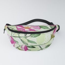 Pink and Green Watercolor Rose Floral Print Fanny Pack