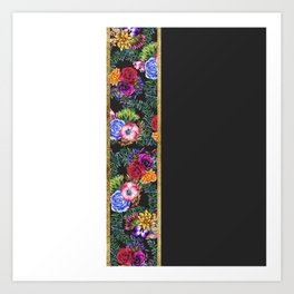 Watercolor Flowers Black White Gold Color Blocks Art Print