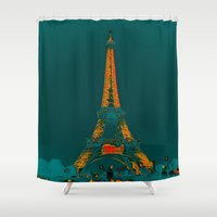 eiffel Shower Curtains featuring Tour Eiffel by Aloke Design