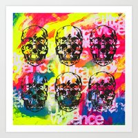 ultraviolence Art Prints featuring Ultraviolence 4i skull - mixed media on canvas by kakin