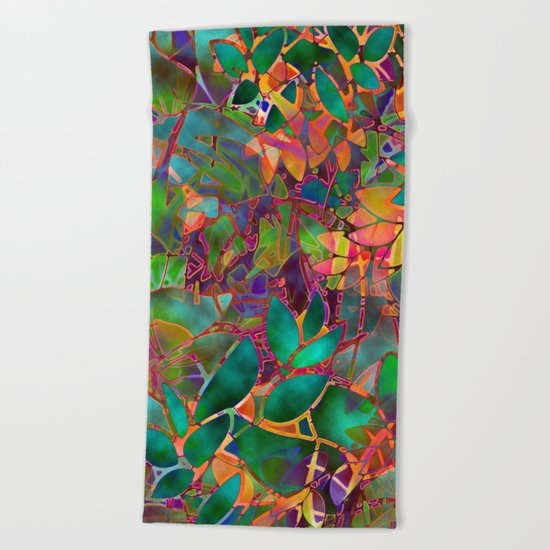 Floral Abstract Stained Glass G176 Beach Towel