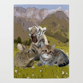 baby cat, tiger, rabbit//nature landscape mountain watercolor Poster