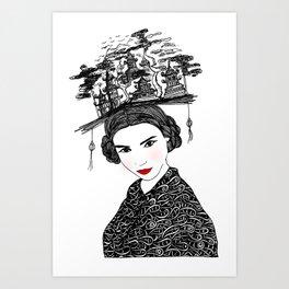 Beijing Girl - Illustration By Chrissy Lau Art Print