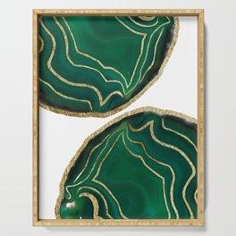 Emerald Agate Gold Glam #1 #gem #decor #art #society6 Serving Tray