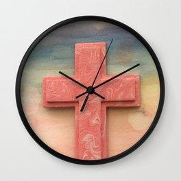 Pink Cross Watercolor Wall Clock
