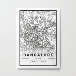 Bangalore Light City Map Metal Print